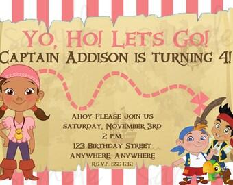 Jake and the Neverland Pirates Birthday Invitation Girl