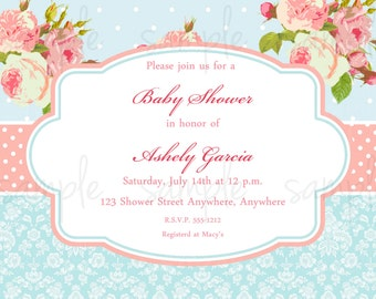 Shabby Baby Shower Invitation
