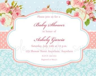 Shabby Baby Shower Invitation