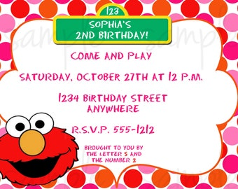 Elmo Girl Birthday Invitation