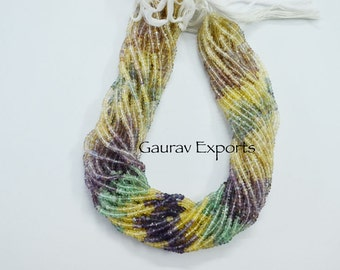 Fluorite Roundel Faceted Hand cutting 3.50 - 4.25 mm ,15 inch Strand