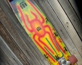 hand painted longboard surf style graffiti skateboard