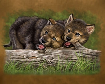 Wolf Pups Painting- Print