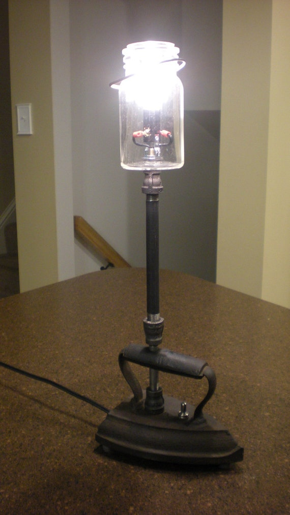 Industrial steampunk table desk lamp antique iron and for Black iron pipe lights