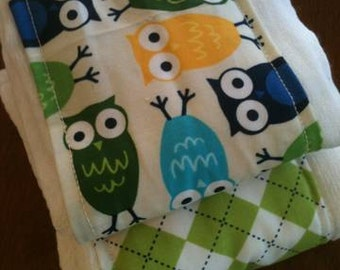 Owls and Argyle burp cloth gift set great baby shower gift