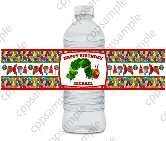 Very Hungry Caterpillar Water Bottle Label By