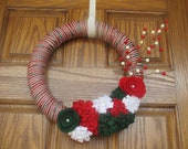 14 inch Red, Green, and White Festive Christmas Yarn Wreath