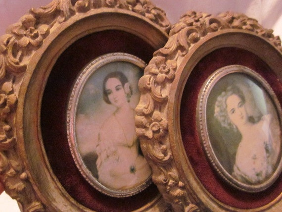 pair ornate CAMEO CREATIONS FRAMED Ladies Lady Dower Isabella Montgomery Romney Lawrence