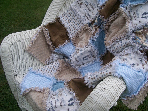 Rag Quilt French Blue and Latte Minky Jungle Theme Baby Gift Ready To Ship