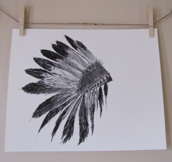 how to draw a indian headdress