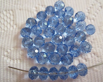 35  Cornflower Blue Faceted Rondelle Crystal Glass Beads  8mm x 6mm