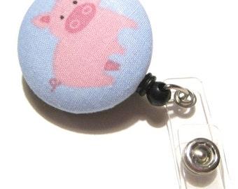 Retractable ID BADGE Reel Holder, Lanyard-Cute Pink Pig on Blue