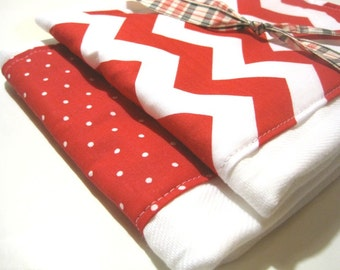 Babies Burp Cloth Set- Burp Rags-Cute Red White Chevron Polka Dots, Baby Shower Gift, For Feeding Nursing Cloths, Matching Bib
