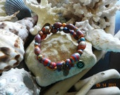 Multi-color Turkey turquoise bead and barrel memory bracelet
