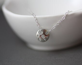 Full Moon Sterling Silver Charm Minimalist Necklace Jewelry.All 925 sterling silver.
