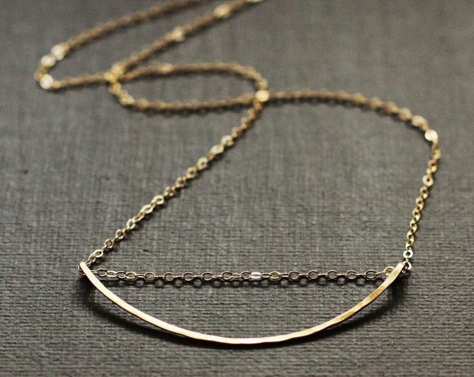 Gold Curved Bar Necklace - 14K Gold Filled Hand Hammered Bar