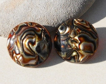 Vintage Swirl button earrings 1960s Mod  vintage acrylic jewelry