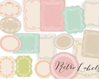 Labels Clip art  Retro design tags Printable labels PNG files