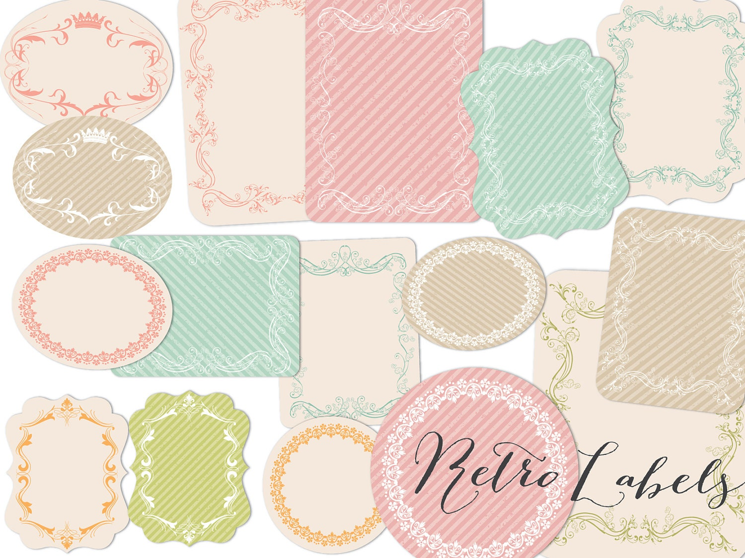 Wedding Gift Tag Clipart : Labels Clip art Retro design tags Printable labels PNG files