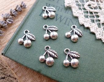 6x Cherry Charms, Antique Silver Pendants C77