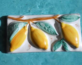 Vintage Tile Vietri - Decorative Ceramic Tile Lemons High Relief - Hand Painted