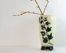 Royal Copley Vase Vintage Ceramic Vase - Neutral Home Decor - 1950s Home Decor Green Ivy Garden Decor - Oriental Inspired Mid Century Decor
