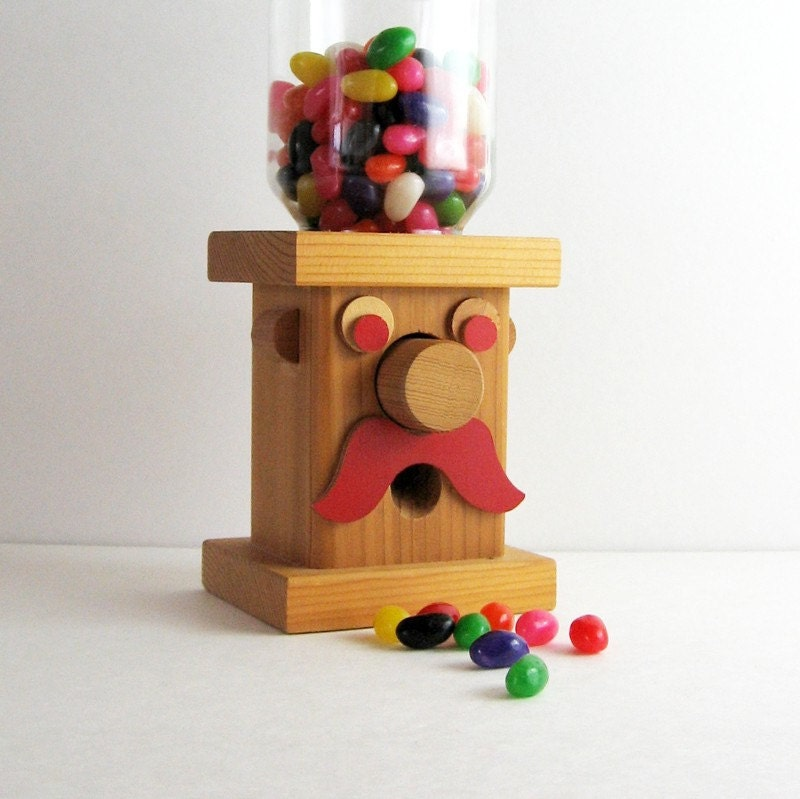 Vintage Wood Gumball Machine Wooden Mustache Man by LastCentury