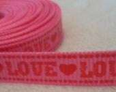 Pink Love Hearts Grosgrain Ribbon 3/8
