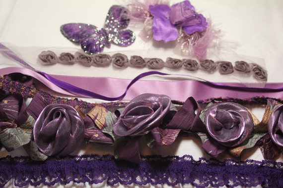 Assorted  Purple Ribbons, Trims & Flowers - Great for Craft Project -8 Differ Kinds - See Description for Details