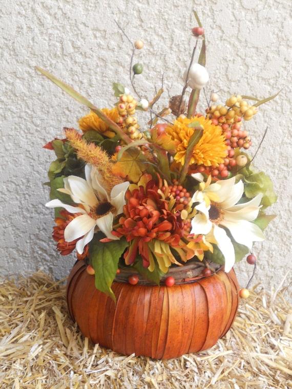Fall Basket Centerpiece : Fall centerpiece rustic reed basket floral arrangement