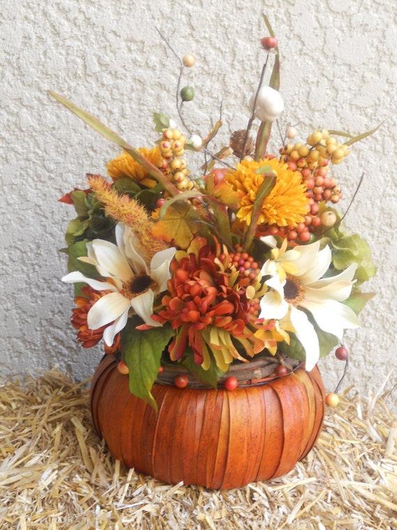 fall centerpiece rustic reed basket floral arrangement