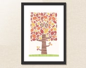 Where Owls Hide - whimsical retro design of owl hiding in a tree - fine art print, green red / brown / orange / yellow / fall / autumn