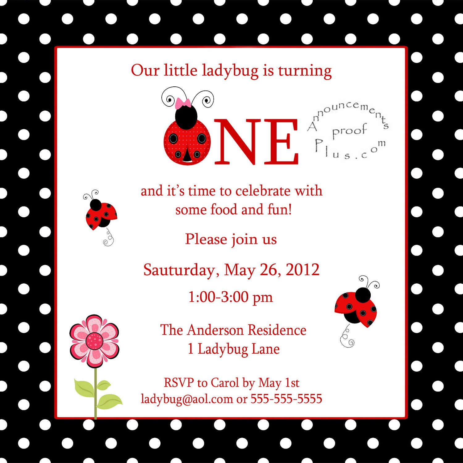 Ladybug Invitations 1St Birthday for great invitations example
