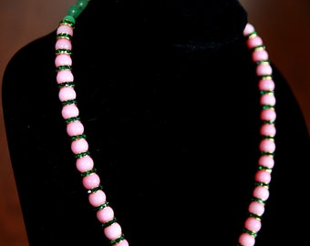 Rhodochrosite and green crystal necklace