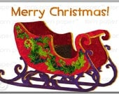 "SANTA'S  SLEIGH  - ""Merry Christmas "" Holiday Card  2014 - 5""x7"" Contemporary Collage Art Card - (CCHR2012026)"