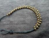 cute handmade bead bracelet: gold - grey