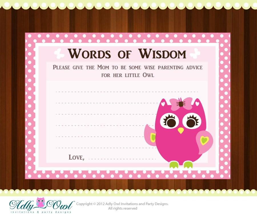 Words Of Wisdom: Pink Girl Owl Word Of Wisdom Baby Shower Advice Card Printable