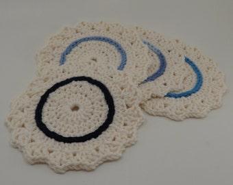 Blue and Cream Coaster Set - Set of 4 Cotton Coasters - READY TO SHIP - Handmade Housewarming Gift