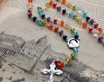 Catholic Rosary Handmade. Crystal Rosary. Rainbow Rosary. Chakra Rosary. Catholic Jewellery.
