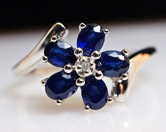 Diamond and Sapphire Ring - 14k White Gold - Size 7 - Sizing Included