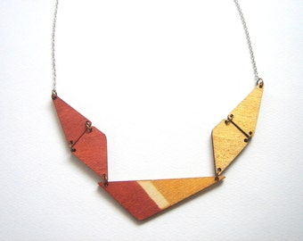 Geometric Necklace, Wood Triangles Necklace,Wood Geometric Necklace,Geometric Jewelry