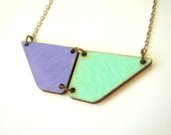 Pastel Geometric Necklace, Wood Neon Necklace,Geometric Jewelry