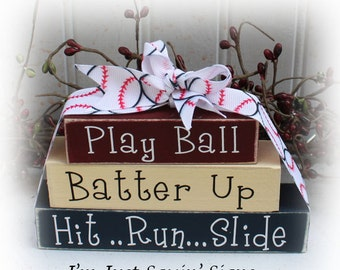 Baseball Itty Bitty Wood Blocks Sign