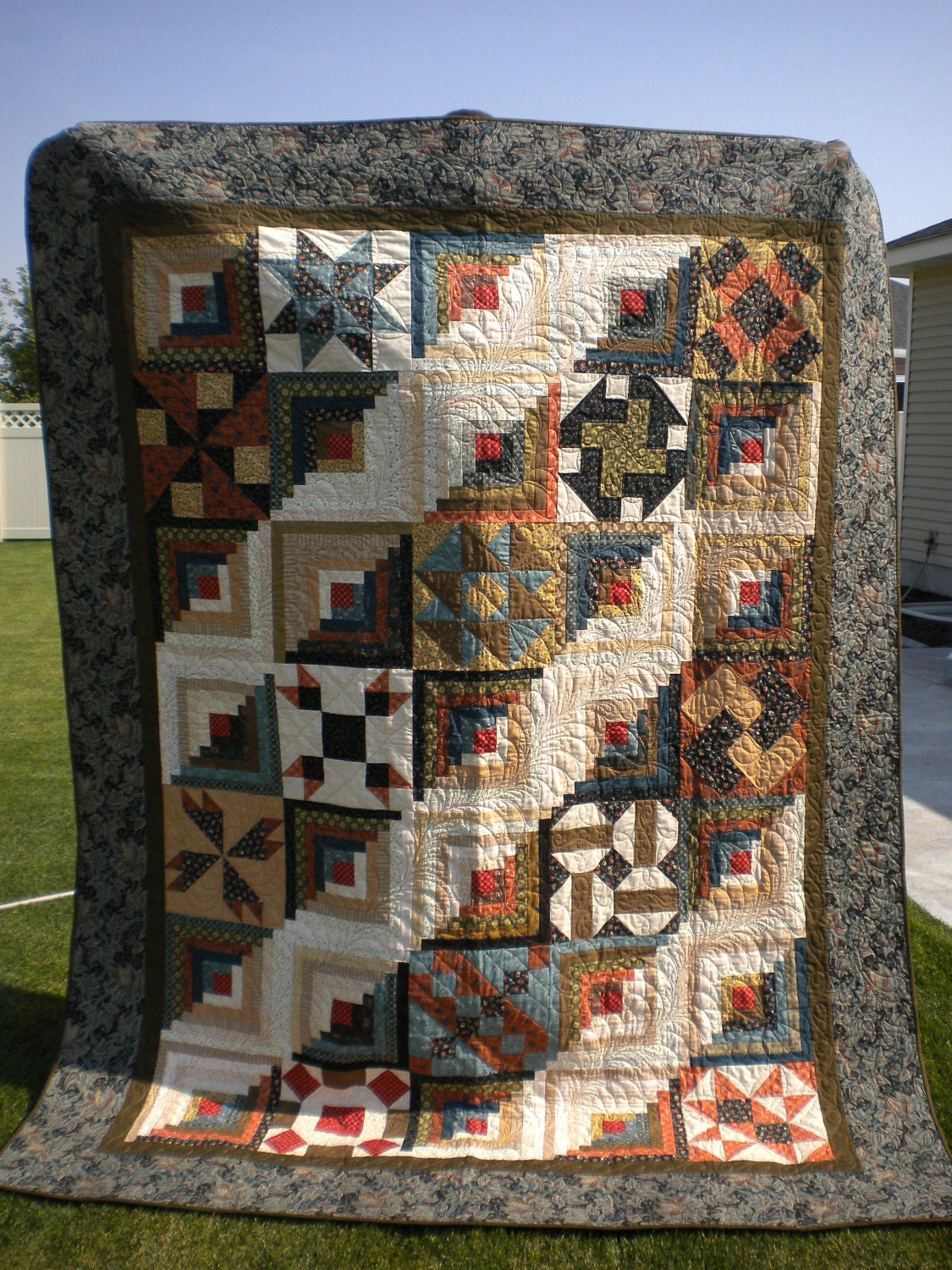 Award Winning Log Cabin Sampler Quilt 80x100 With Civil War