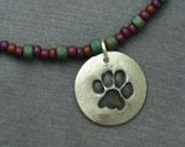 Fine Silver Paw Print and Seed Bead  Necklace