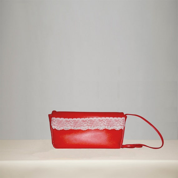 Ready to ship -  Red Leather Handmade Bag  - Cluth Leather Bag - Leather Bag in Red
