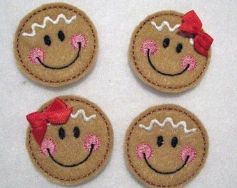 Gingerbread Girls/Boy - Embroidered Felt Appliques - Set of 4