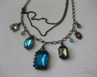 7 CZ Vintage Bronze Pendant Necklace