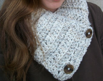 Chunky Scarf - Handmade Womens Scarf - Cowl - Neckwarmer - Buttons - Fall Winter Fashion