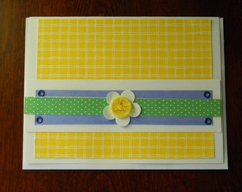 Flower Notecard with Dimensional Button Accent - Blank Inside